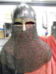 Blackened Stainless SpangenHelm with Stainless Drape